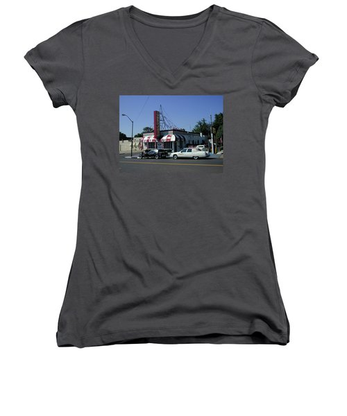 Women's V-Neck T-Shirt featuring the photograph Raifords Disco Memphis A by Mark Czerniec