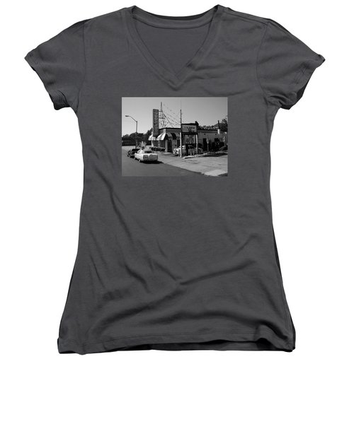 Women's V-Neck T-Shirt (Junior Cut) featuring the photograph Raifords Disco Memphis B Bw by Mark Czerniec