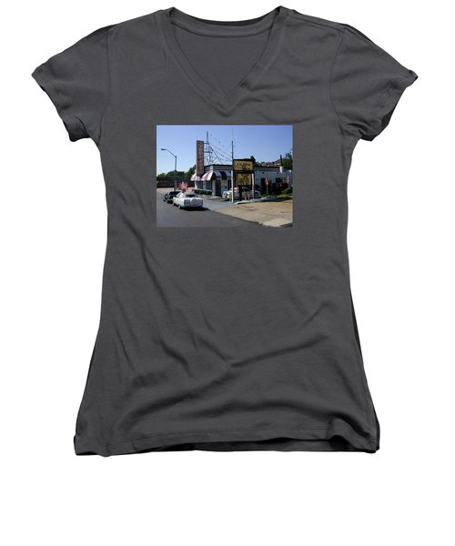 Women's V-Neck T-Shirt featuring the photograph Raifords Disco Memphis B by Mark Czerniec