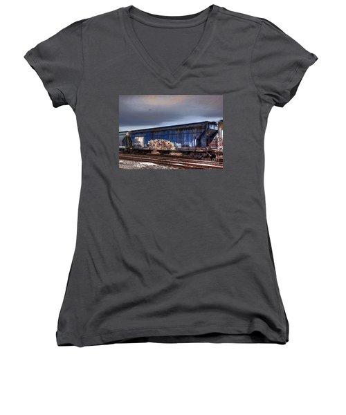 Women's V-Neck T-Shirt (Junior Cut) featuring the photograph Rail Art by Robert Pearson