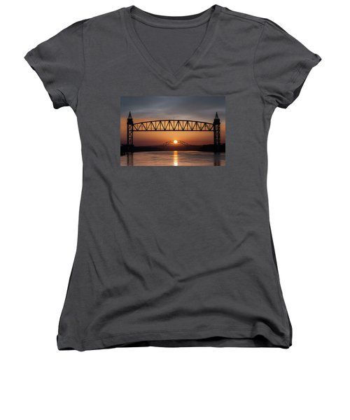Railroad Bridge Framing The Bourne Bridge During A Sunrise Women's V-Neck