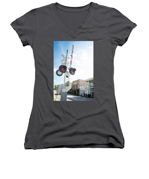 Women's V-Neck T-Shirt (Junior Cut) featuring the photograph Railroad Lights In Old Town Helena by Parker Cunningham