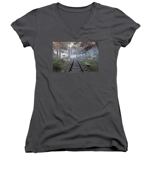 Women's V-Neck T-Shirt (Junior Cut) featuring the digital art Rails To A Forgotten Place by Kai Saarto