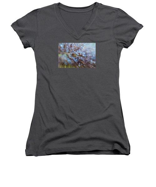 Rain Drops - 9751 Women's V-Neck T-Shirt (Junior Cut) by G L Sarti
