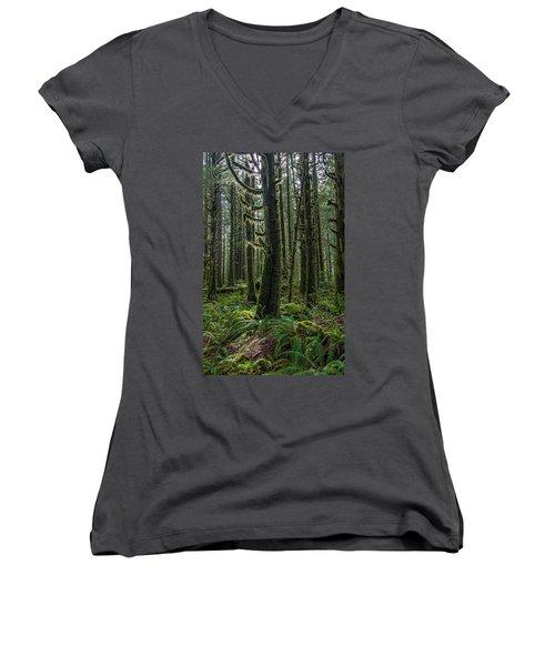 Rain Forest Of Golden Ears Women's V-Neck T-Shirt (Junior Cut) by Pierre Leclerc Photography