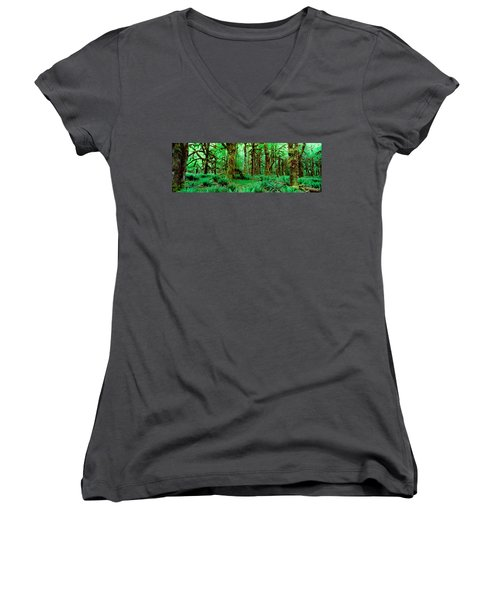 Rain Forest, Olympic National Park Women's V-Neck T-Shirt (Junior Cut) by Panoramic Images