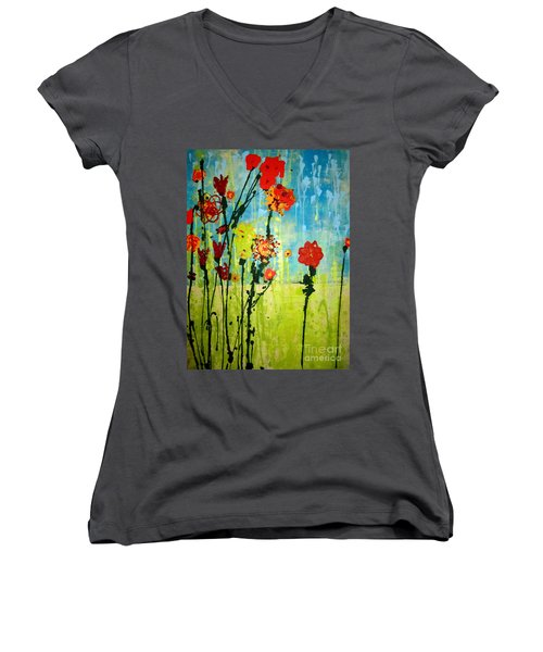 Women's V-Neck T-Shirt (Junior Cut) featuring the painting Rain Or Shine by Ashley Price