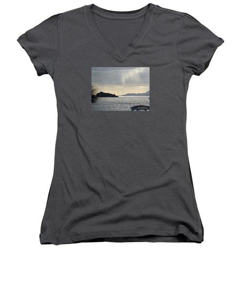 Rain Over Pelican Key Women's V-Neck T-Shirt (Junior Cut) by Margaret Brooks