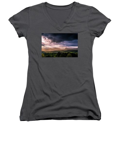 Rain Showers Over Willoughby Gap Women's V-Neck