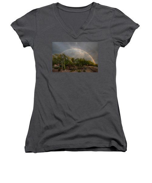 Women's V-Neck T-Shirt (Junior Cut) featuring the photograph Rain Then Rainbows by Dan McManus