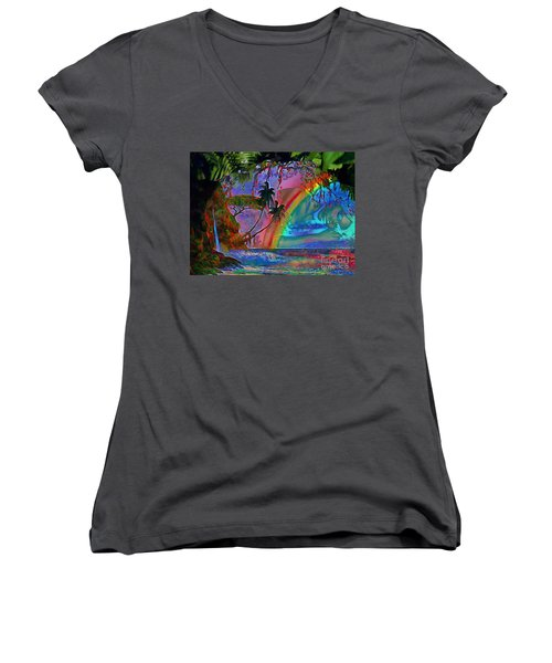 Rainboow Drenched In Layers Women's V-Neck T-Shirt