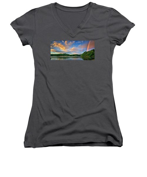Rainbow At Linville Land Harbor Women's V-Neck T-Shirt (Junior Cut) by Steve Hurt