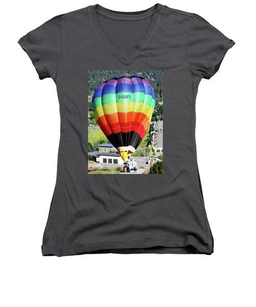 Rainbow Balloon 5 Women's V-Neck T-Shirt