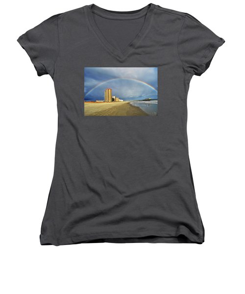Women's V-Neck T-Shirt (Junior Cut) featuring the photograph Rainbow Beach by Kelly Reber