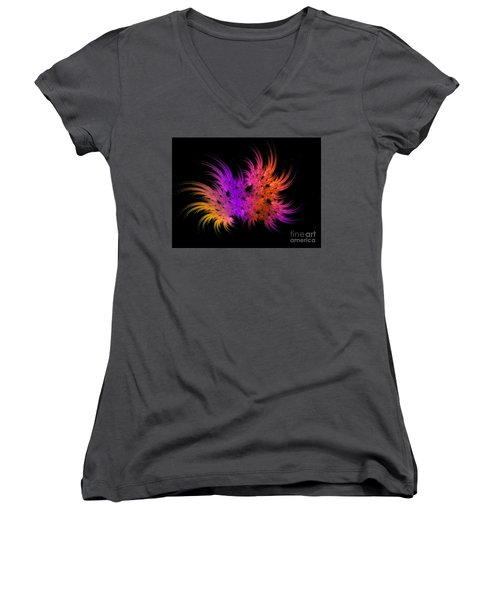 Rainbow Bouquet Women's V-Neck T-Shirt (Junior Cut) by Geraldine DeBoer