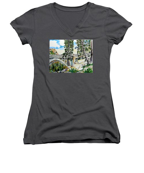 Women's V-Neck T-Shirt (Junior Cut) featuring the painting Rainbow Bridge At Donner Summit by Terry Banderas