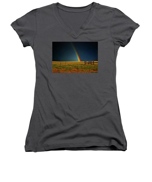 Women's V-Neck T-Shirt (Junior Cut) featuring the photograph Rainbow In A Field 001 by George Bostian