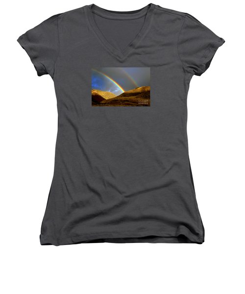 Women's V-Neck T-Shirt (Junior Cut) featuring the photograph Rainbow In Mountains by Irina Hays
