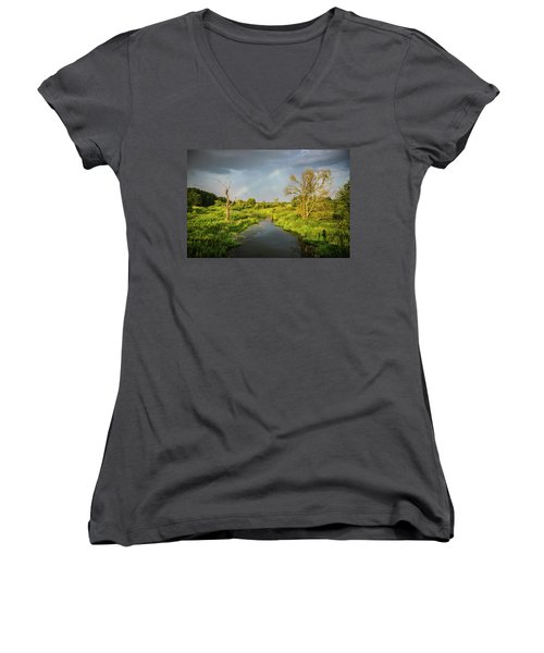 Women's V-Neck T-Shirt (Junior Cut) featuring the photograph Rainbow by Jaroslaw Grudzinski
