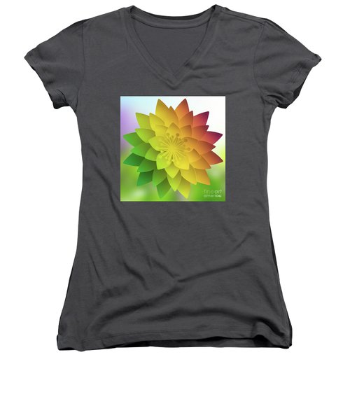 Rainbow Lotus Women's V-Neck T-Shirt (Junior Cut) by Mo T