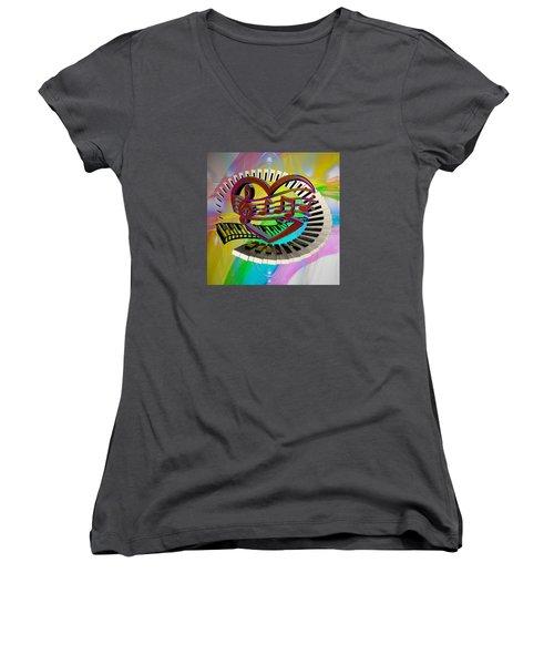Rainbow Love Of Music  Women's V-Neck T-Shirt (Junior Cut) by Louis Ferreira