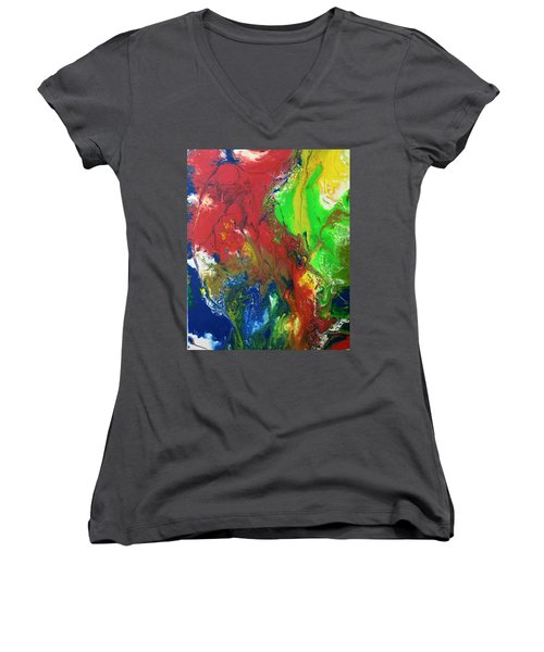 Women's V-Neck featuring the painting Rainbow Mix by Vicki Winchester