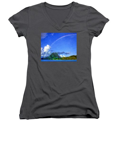 Rainbow Over Bora Bora Women's V-Neck