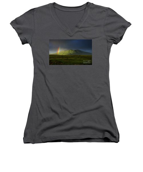 Rainbow Over Mount Ara After Storm, Armenia Women's V-Neck T-Shirt