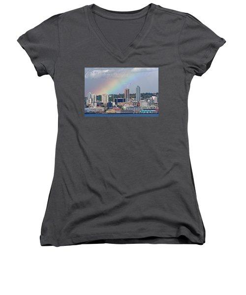 Rainbow Over Seattle Women's V-Neck