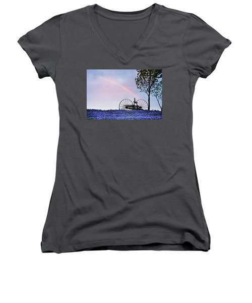 Rainbow Over Texas Bluebonnets Women's V-Neck T-Shirt (Junior Cut) by David and Carol Kelly