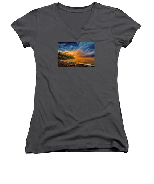 Rainbow Point Women's V-Neck T-Shirt (Junior Cut) by Rikk Flohr