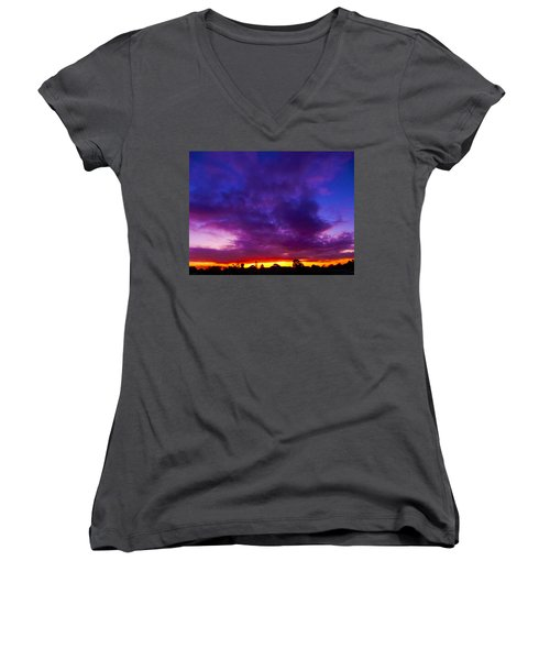 Rainbow Sunset Women's V-Neck (Athletic Fit)