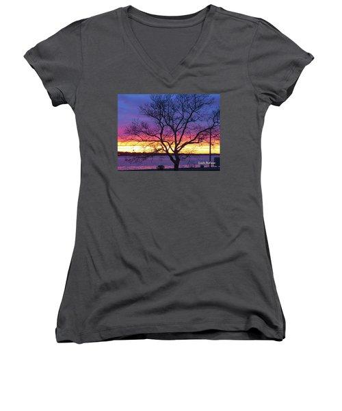 Rainbow Sunset Women's V-Neck T-Shirt (Junior Cut) by Robert Henne