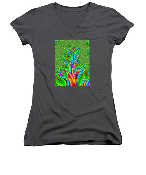 Women's V-Neck T-Shirt (Junior Cut) featuring the photograph Rainbow Tree by Ronda Broatch