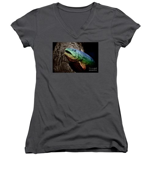 Women's V-Neck T-Shirt (Junior Cut) featuring the photograph Rainbow Trout Wood Sculpture by John Stephens