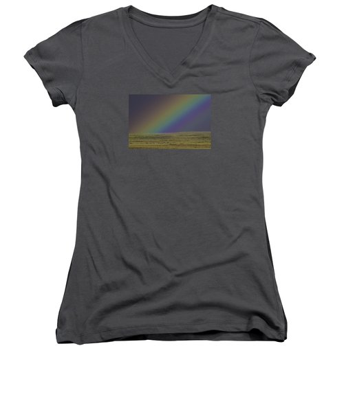 Rainbows End Women's V-Neck T-Shirt (Junior Cut) by Elizabeth Eldridge