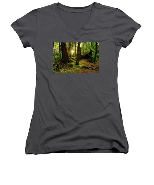 Rainforest Path Women's V-Neck T-Shirt (Junior Cut) by Chad Dutson