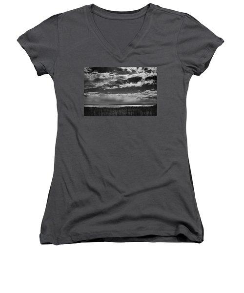 Women's V-Neck T-Shirt (Junior Cut) featuring the photograph Raining At Yellowstone Lake by Jason Moynihan