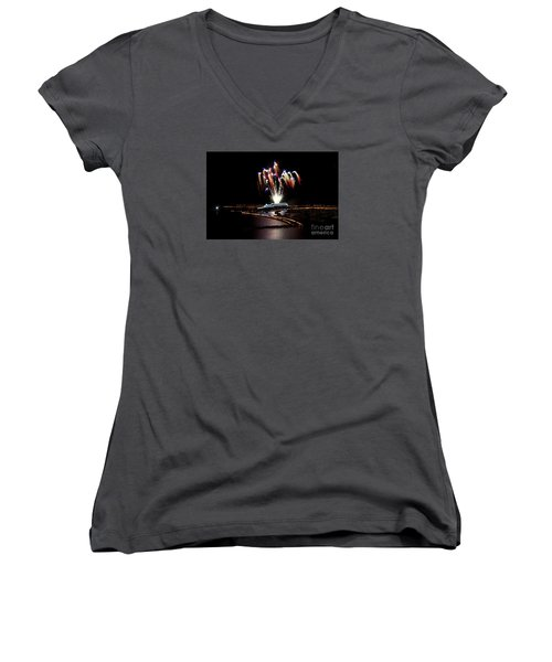 Women's V-Neck T-Shirt (Junior Cut) featuring the photograph Raining Colour. by Gary Bridger