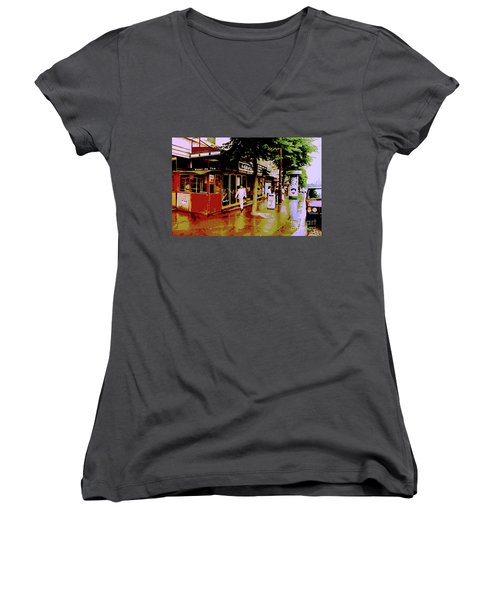 Rainy Day In Paris Women's V-Neck (Athletic Fit)