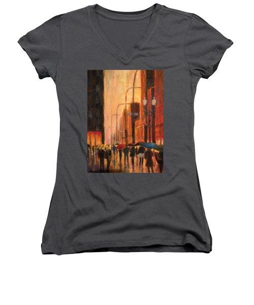 Rainy Evening Chicago Women's V-Neck T-Shirt