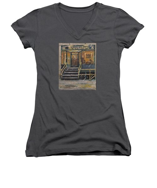 Rainy November Afternoon Coffee Women's V-Neck T-Shirt (Junior Cut) by Jack Skinner