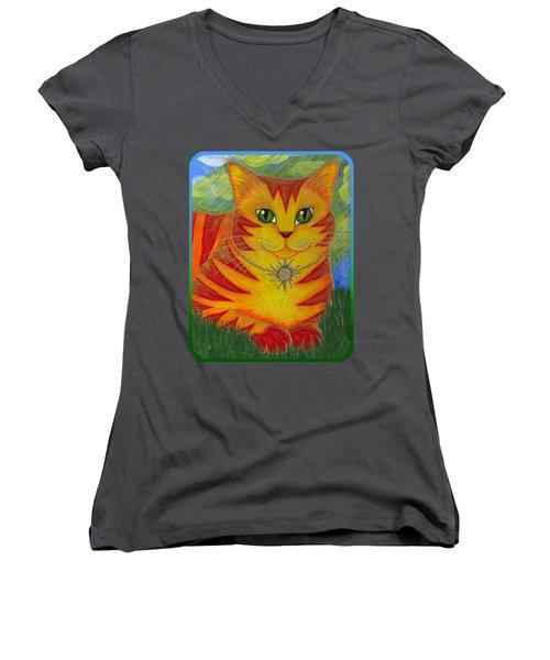 Rajah Golden Sun Cat Women's V-Neck T-Shirt (Junior Cut) by Carrie Hawks