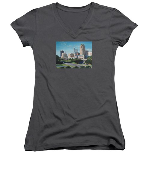 Raleigh Downtown Realistic Women's V-Neck (Athletic Fit)