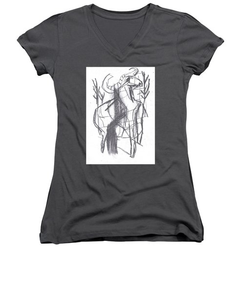 Ram In A Forest Women's V-Neck