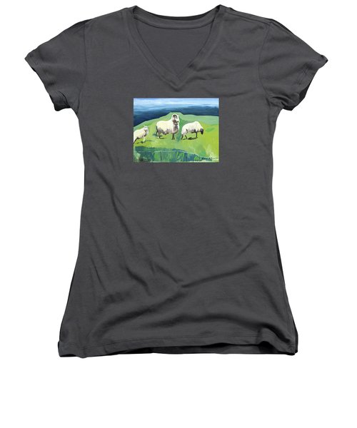 Ram On A Hill Women's V-Neck (Athletic Fit)