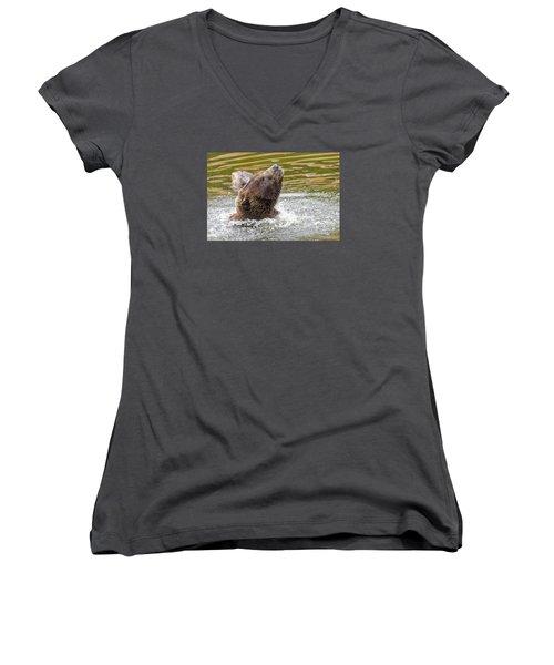Rambo Bear Women's V-Neck T-Shirt (Junior Cut) by Harold Piskiel