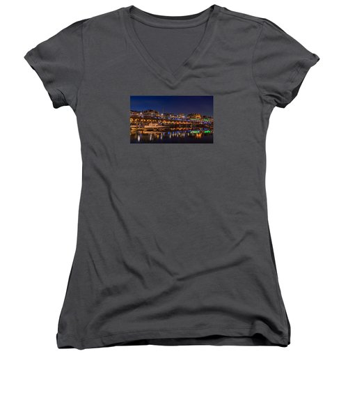 Ramsgate Marina At Night Women's V-Neck (Athletic Fit)