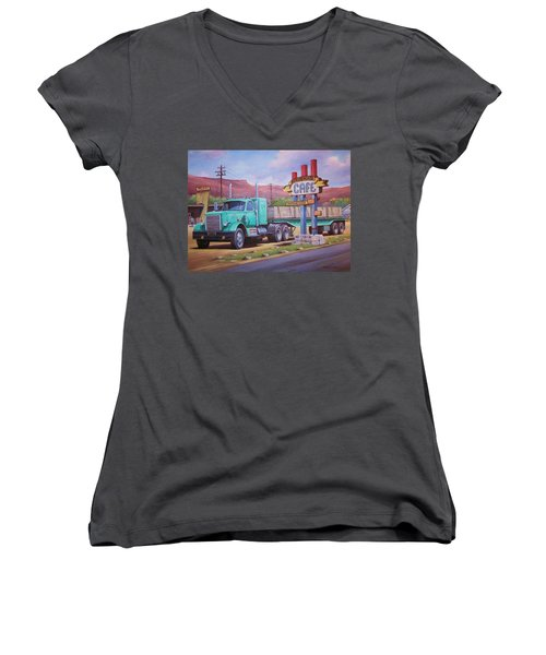 Women's V-Neck T-Shirt (Junior Cut) featuring the painting Ranch House Truckstop. by Mike Jeffries