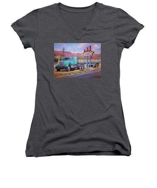 Ranch House Truckstop. Women's V-Neck T-Shirt